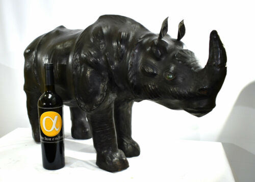 "Large Leather Rhinoceros Animal Sculpture 32"" Long!"