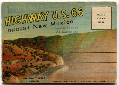 "1952 Souvenir Postal Mailer: ""Scenic Highway U.S. 66 Through New Mexico"""