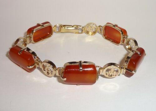 Vintage Gold Tone Asian Characters Carnelian Panel Bracelet