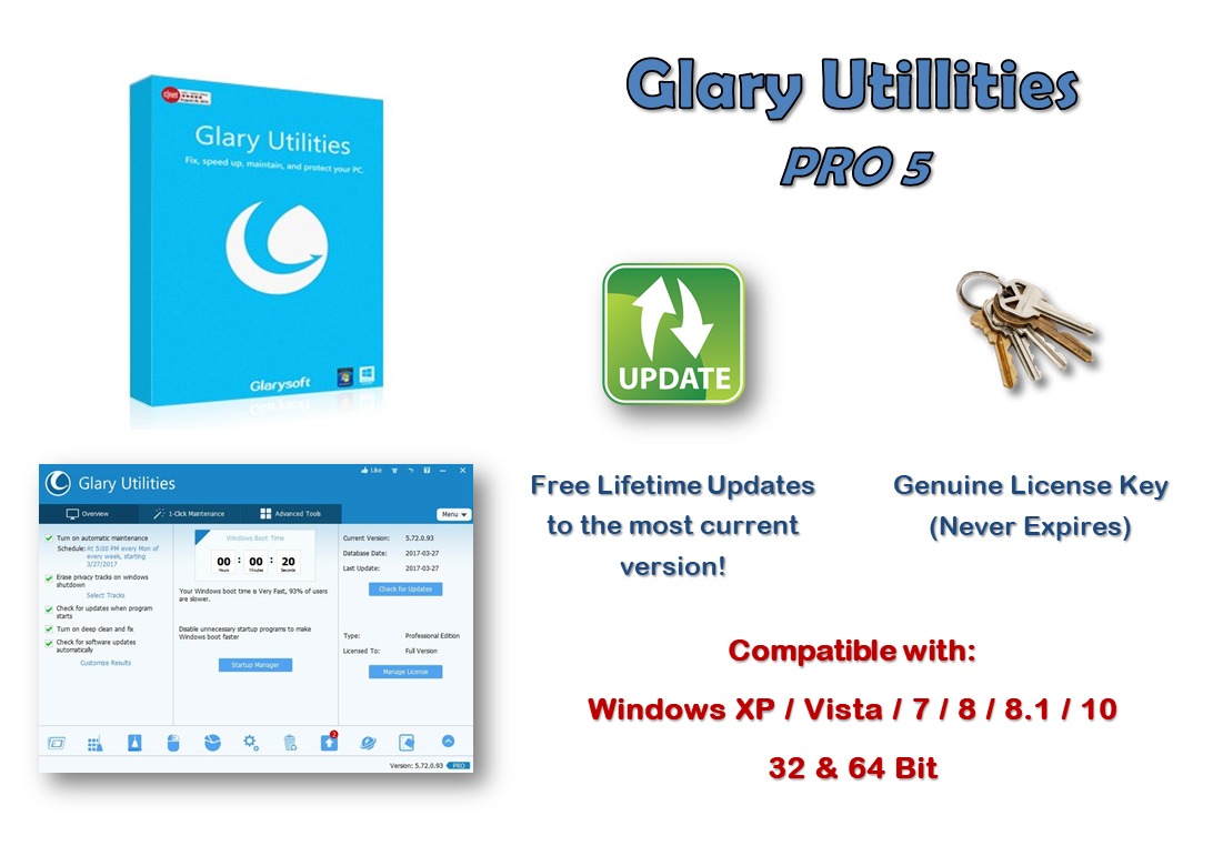 Glary Utilities Pro 5 LIFETIME  LICENCE  3 PC's PER LICENCE KEY  + A FREE KEY