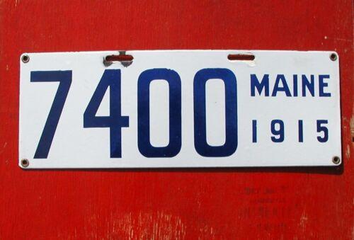 1915 Maine Nice Original Porcelain 7400  License Plate