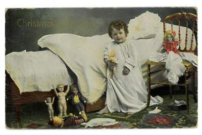 Tinted Photo Christmas Postcard Child in Nightgown with Dolls 1914 Saxony 1112 3](Christmas Nightgowns Kids)