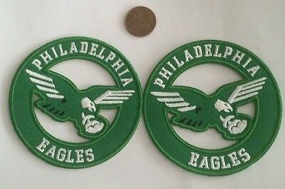 (2)-Philadelphia Eagles vintage embroidered iron  on logo patches  3x3