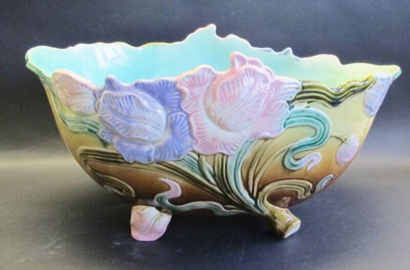 """Antique 15"""" FRENCH ART NOUVEAU Majolica Faience Center Bowl  c. 1900   vase +"""