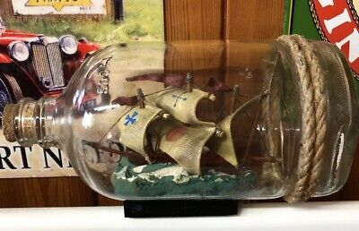 Vintage Galleon Model  Ship In  500ml glass Bottle, Nautical Ornament 7ins