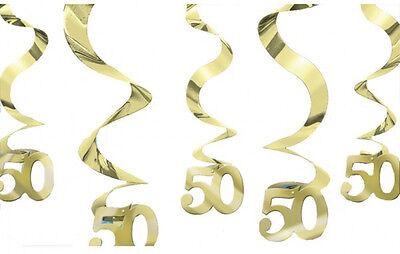 Dorado Boda Decoración Colgante Remolinos 50th Fiesta Aniversario Oro 50