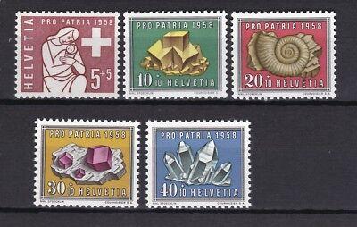 Schweiz 1958 postfrisch MiNr. 657-661 Pro Patria Mineralien und Versteinerungen