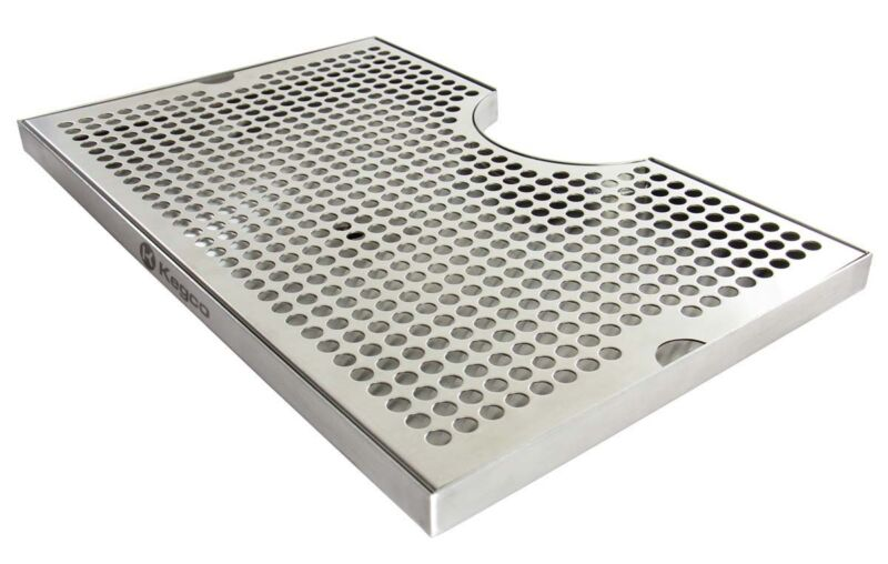 """Kegco SECO-1610D 16"""" x 10"""" Surface Mount Drip Tray with Drain - 3"""" Cut-Out"""