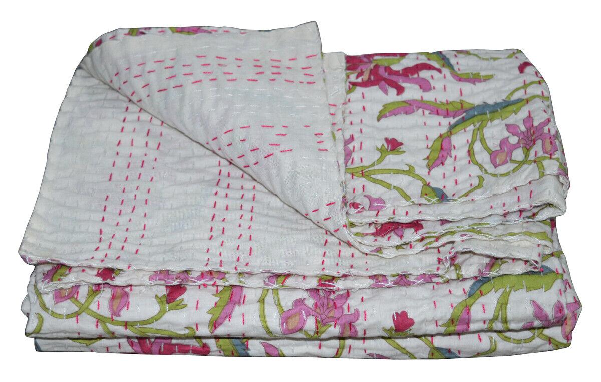 Floral Handmade Kantha Quilt~Indian Bedspread Throw Cotton B