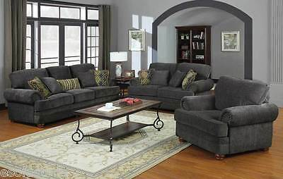 Colton Smokey Grey Chenille Sofa Set W  Rolled Arms Nailhead Accents   Pillows
