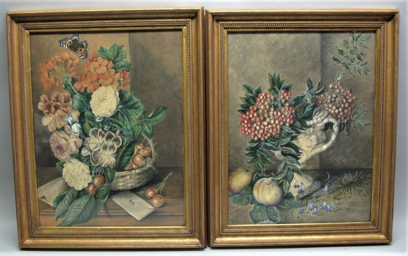 Fine Pair Of Albert Durer Lucas (english) Still Life Watercolors C. 1880 Antique