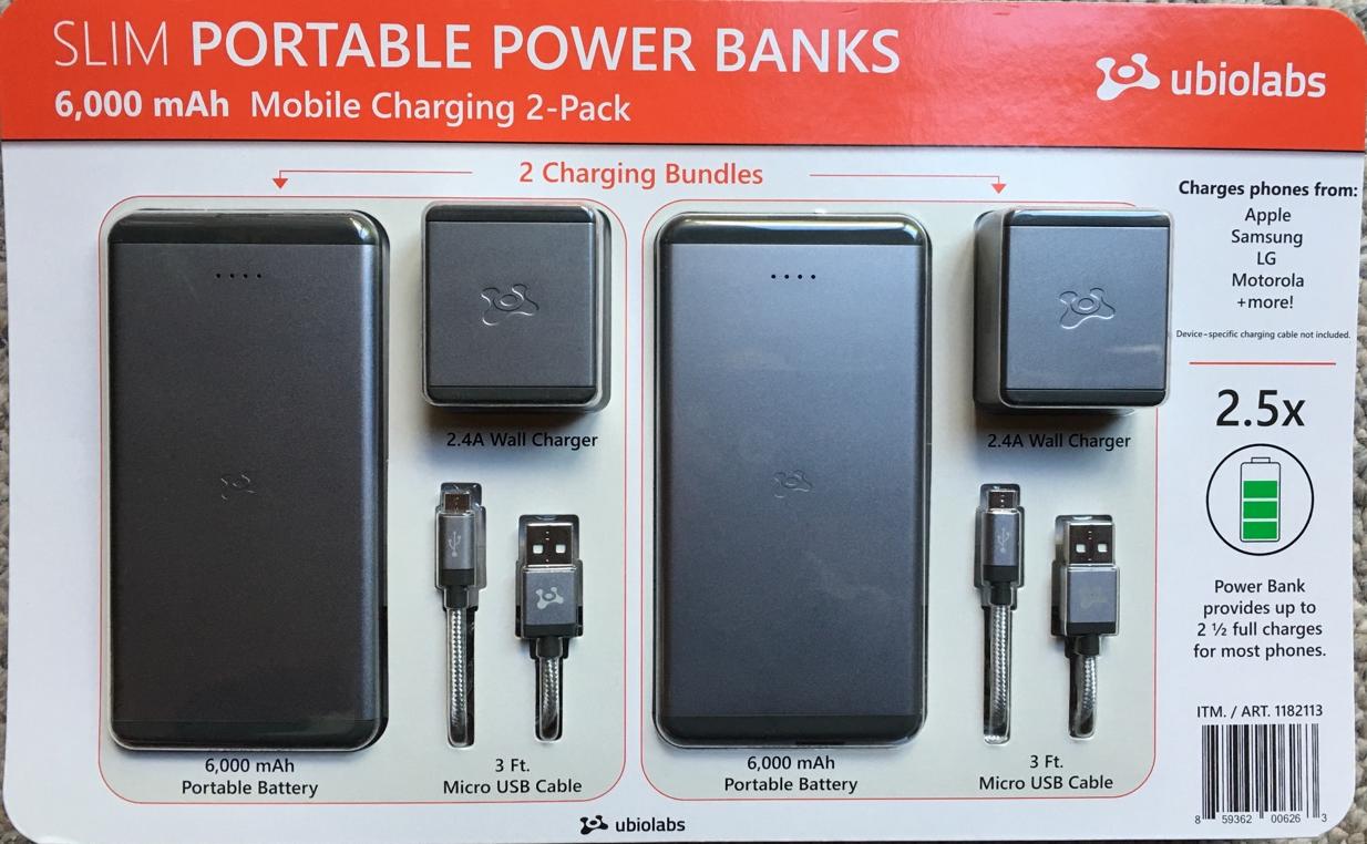 Portable Charger, Ubio Labs Slim 6,000 mAh High Capacity Pow