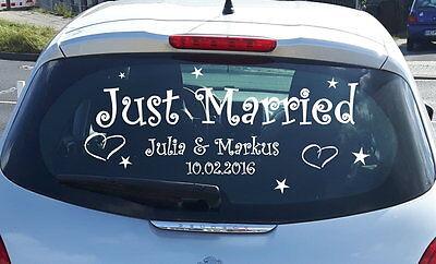 Just Married Auto Aufkleber personalisiert Namen Datum Hochzeit Wandtattoo
