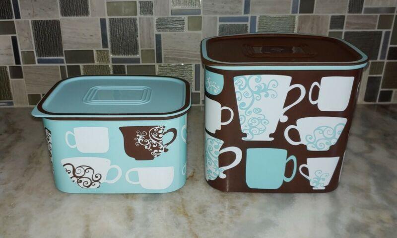 Tupperware Pack & Store Coffee & Tea Canister 2 Pc Set Aqua & Brown Rare