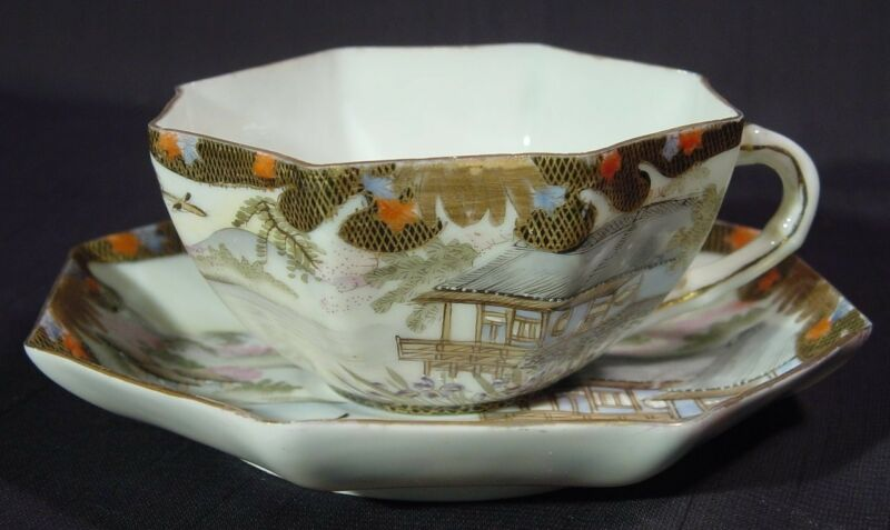 Antique Japanese Yokohama Kutani Cup & Saucer Octagonal Landscape & People