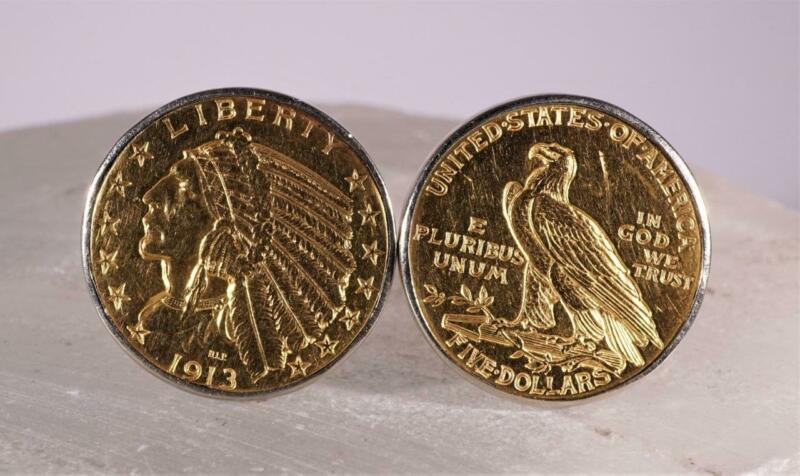 1913 $5 Gold Coin Cuff Links Set in 14K