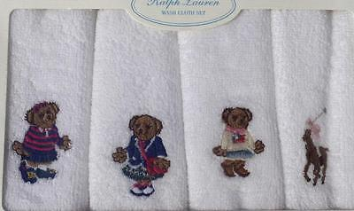 Ralph Lauren infant baby boy girl terry washcloth set terry 4 pack new white