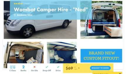 Brand New Custom Campervan FOR HIRE in South Sydney from $69 p/n