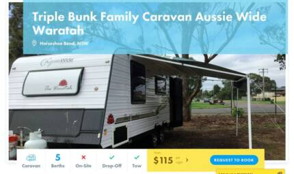 Caravan FOR HIRE in Horseshoe Bend from $115/night Cameron Park Lake Macquarie Area Preview