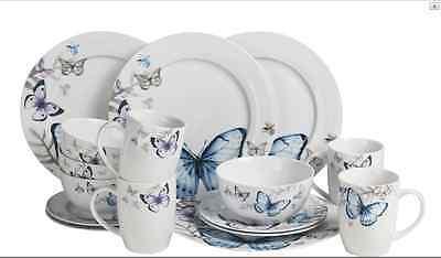16 PIECE WHITE BLUE GREY BUTTERFLY ROUND DINNER SET SERVICE TEA CROCKERY