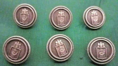 """6 - Waterbury BOY SCOUT Buttons Engraved Raised Brass Round 1/2"""" Vintage Shank"""
