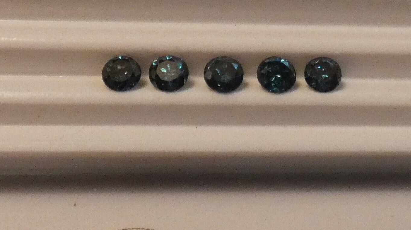 1.265 Carats, Round Brilliant Cut 5 DIAMONDS Fancy TEAL BLUE Color  - $598.99