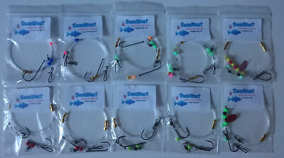 General Shore Sea Fishing pack x 10 rigs- good for all species .Bass, Cod, Rays