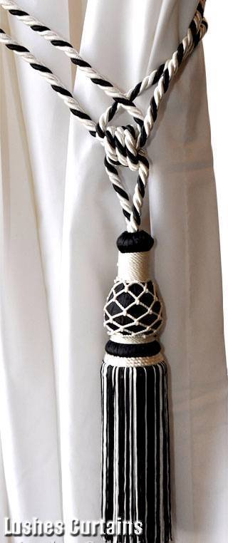 1 Black & White Window Drape Hardware Curtain Drapery Tassel Rope Cord Tie-back
