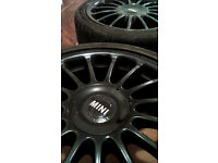 MINI ALLOYS, 17 INCH, BLACK WITH GREAT TYRES, ALL 5mm - straight spoke imola style touring car