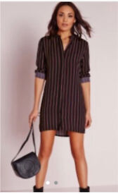 Miss guided collarless stripe shirt dress navy and red size 8
