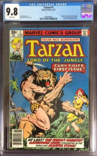 TARZAN #1  (MARVEL,1977) EDGAR RICE BURROUGHS,  WHITE PAGES  CGC 9.8
