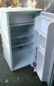 White Danby 3.7cu ft bar fridge with a small freezer compartment