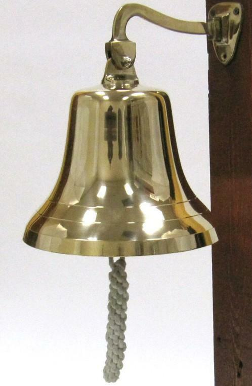 "NAUTICAL Marine NAVIGATION 9"" Dia Shiny Solid Brass Large SHIP BELL w/ BRACKET"