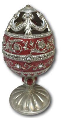 Faberge Egg Style Figurine Music Box Metal & Enamel Flower Pink Silver 6.5