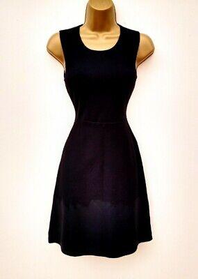 NWOT KAREN MILLEN Black Fine Knit Coated Hem Stretch Fit & Flare Dress Sz S 8-10