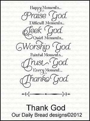 Our Daily Bread Designs Cling Stamp Praise Seek Worship Trust Thank God E359