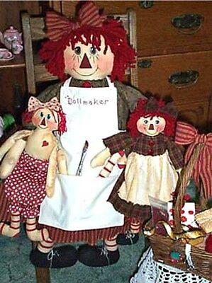 """Primitive Raggedy Ann Cloth Doll Pattern, """"The Dollmaker"""" Three Dolls Elf Annie"""