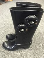 CHANEL black rubber boots with roses