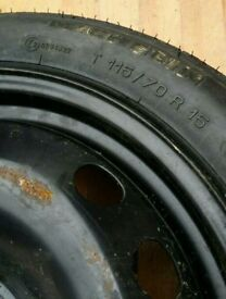 """Genuine ford 15"""" space sever steel wheel (spare wheel) with tyre immaculate condition"""