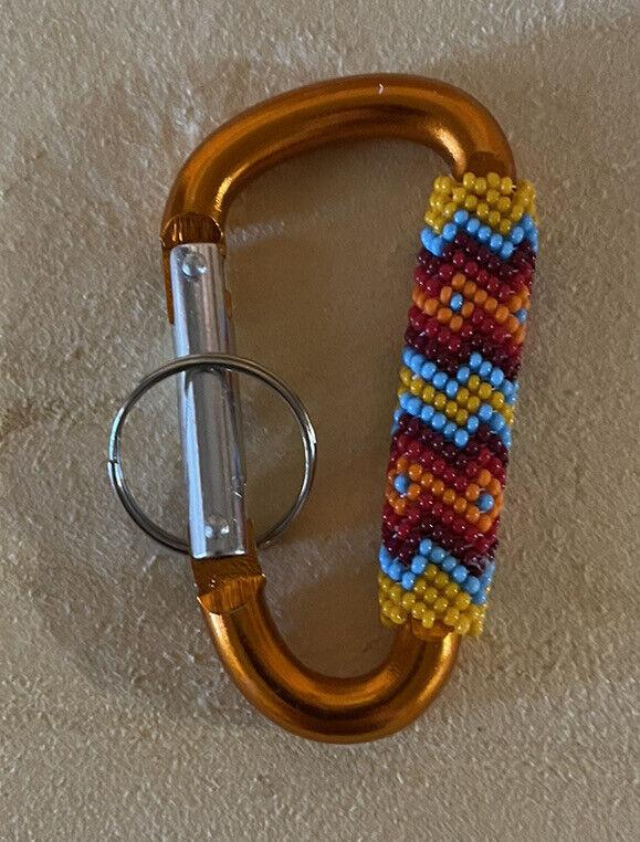 One Beautiful Peyote Stitched Native American Lakota Beaded Carabiner Keychain