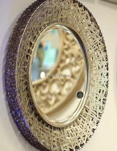 Contemporary silver messed metal wall mirror modern extra for Extra large round mirror