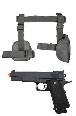 Halloween 3Pc Drop Leg Pistol Gun Holster Magazine Pouch w Prop Gun Grey CV2908U](Leg Gun Holster Halloween)