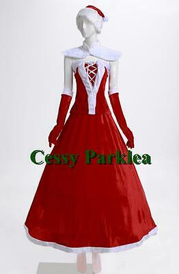 Santa Claus Christmas Helper Deluxe Xmas Long Skirt Outfit & Hat & Gloves ()