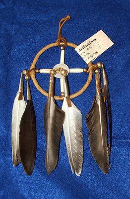 """3"""" Hoop Native American Medicine Wheel w/ Elk Antler Ctr Brown Leather Navajo CK"""