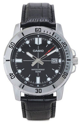 Casio Men's Analog Quartz Stainless Steel/Black Leather Watch MTPVD01L-1EV, used for sale  Shipping to India