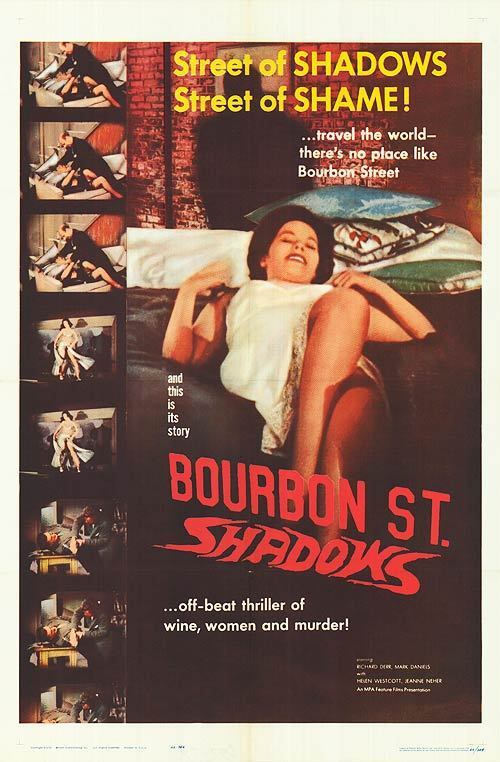 BOURBON STREET SHADOWS orig 1958 one sheet movie poster NEW ORLEANS LOUISIANA