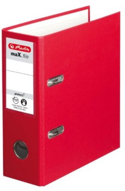Herlitz Max File Protect A5 Upright Lever Arch File Red Vertical Format Stable