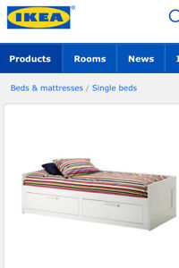 Twin storage bed with mattress