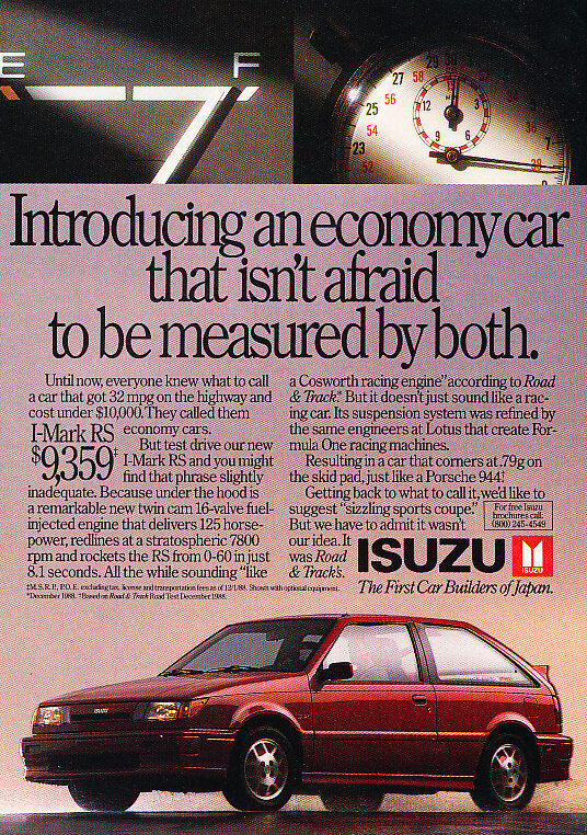 1989 Isuzu I-Mark RS - Classic Vintage Advertisement Ad A87-B