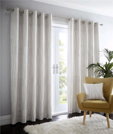 Abstract Stripe Eyelet Curtains